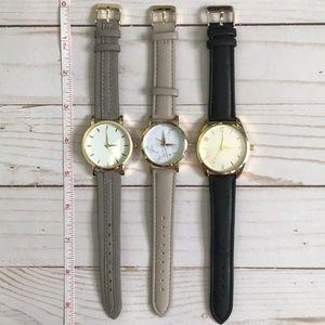Gold wrist watch set — 3 adjustable watches